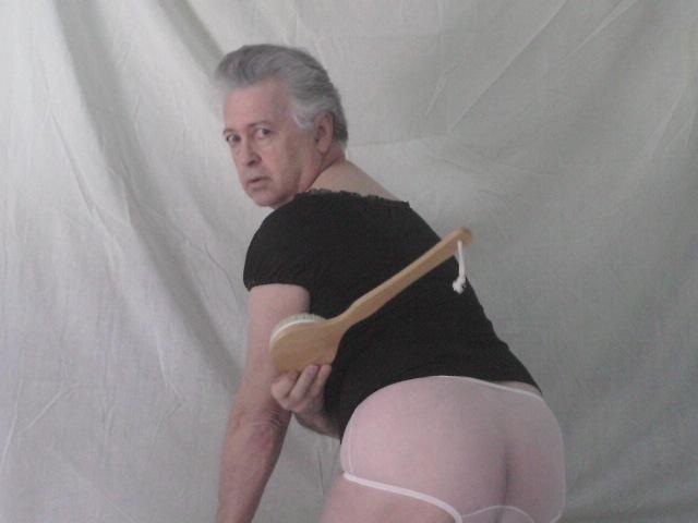 Panty-Photo-Black-Frederick's-Peasant-Top-Touch_Me-Massaging-Bath_Brush-Ultra_Sheer-Nancy_King-Full_Brief-Pink-Chiffon-Ladies-Panties-Modeled-By-Panty_Buns-Back-View
