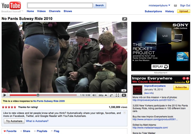 No Pants Subway Ride 2010, 1,300,009 Views