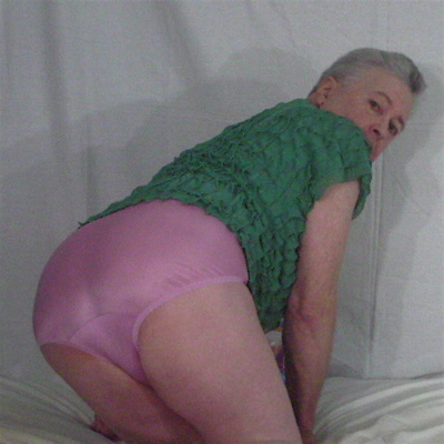 male modeling Hanes Her Way women's lavender nylon panties